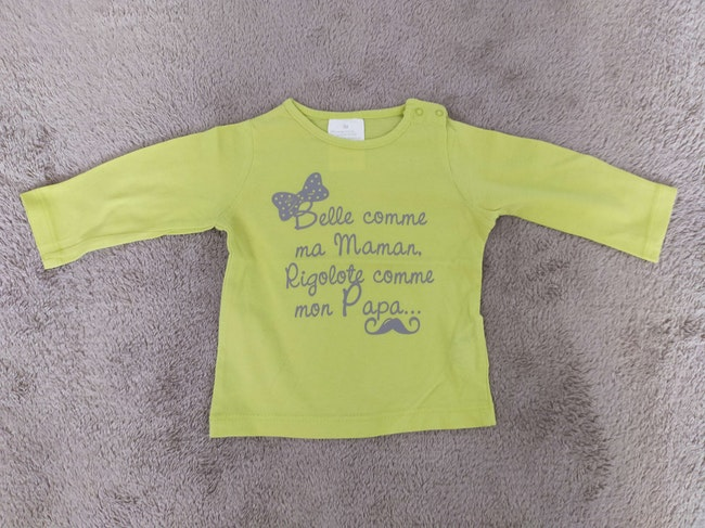 Tee-shirt manches longues vert pomme 6 mois