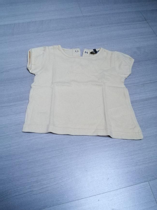 Tee shirt manches courtes jaune 6mois