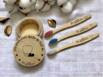 Box dents : Boîte à dents + 1 brosse à dents personnalisée - Gravure au laser
