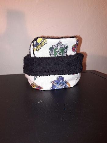 Lingettes lavables réutilisables avec panière assortie harry Potter noir Poudlard