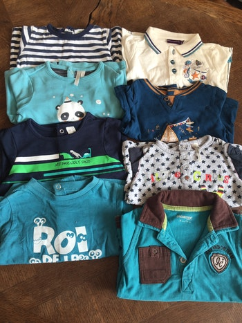 Lot 8 tee shirts manches longues - 9 Mois