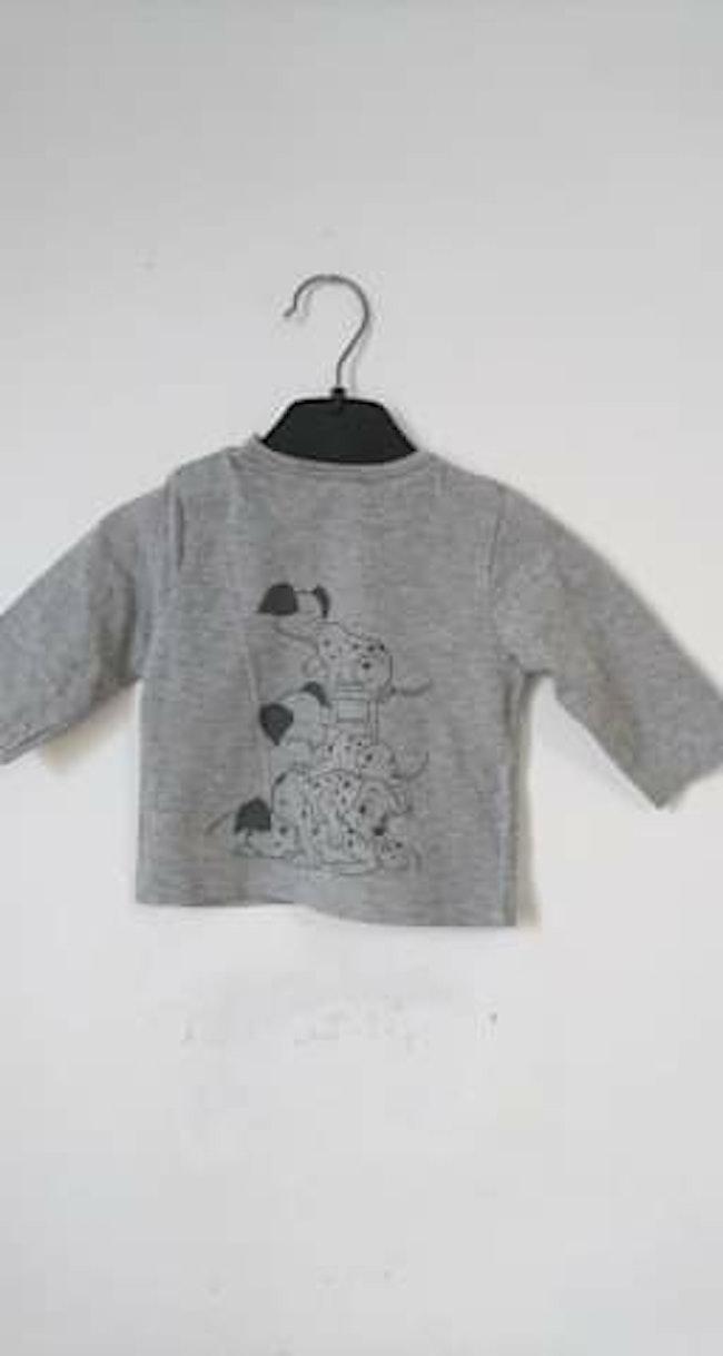 Haut manches longues gris les 101 dalmatiens Disney 3 mois