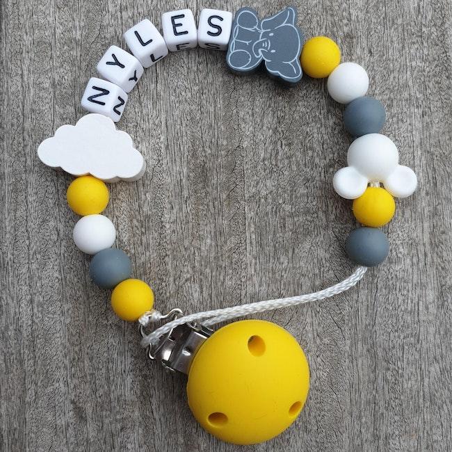 Attache tétine bébé nuage mickey jaune gris