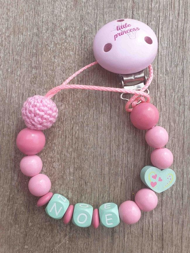 Attache tétine bébé rose menthe