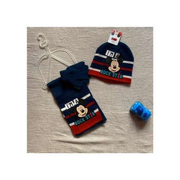 NEUF ensemble mignon bonnet 54cm écharpe gant mickey mouse marine 5/7ans école hiver <•disney>