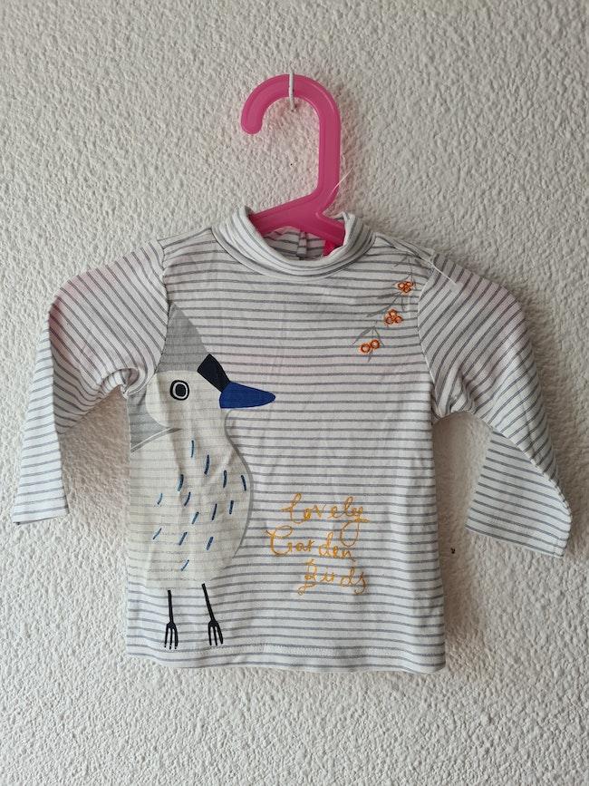 tee-shirt blanc rayé oiseau Orchestra