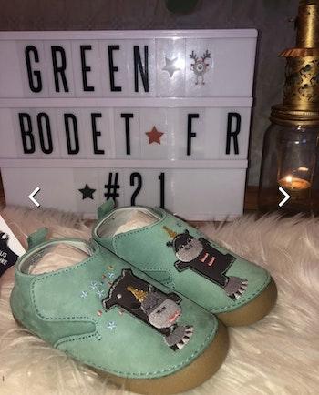Vertbaudet Chaussons bébé garçon en cuir souple - water green taille 23