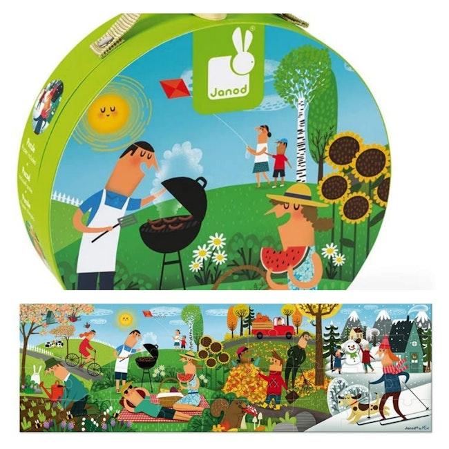 Janod valisette puzzle panoramique les 4 saisons Neuf