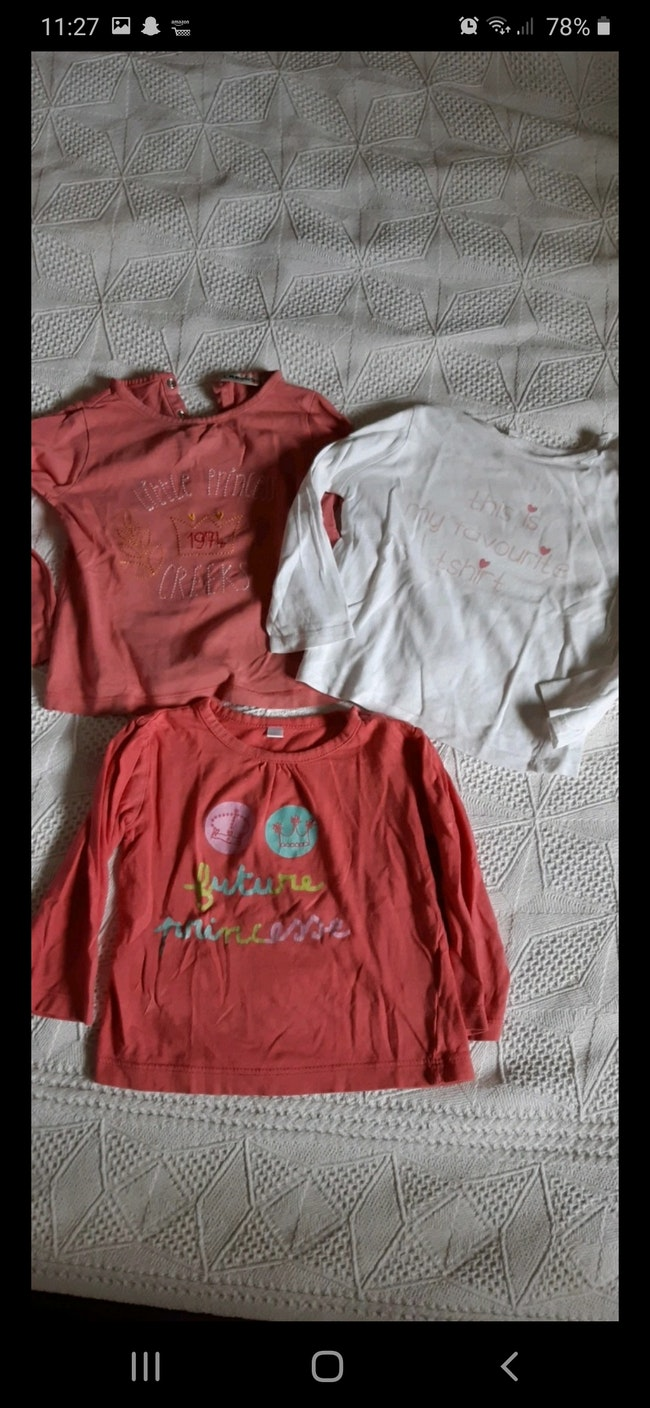 Lot 3 sous pull, tee-shirts manches longues 24 mois