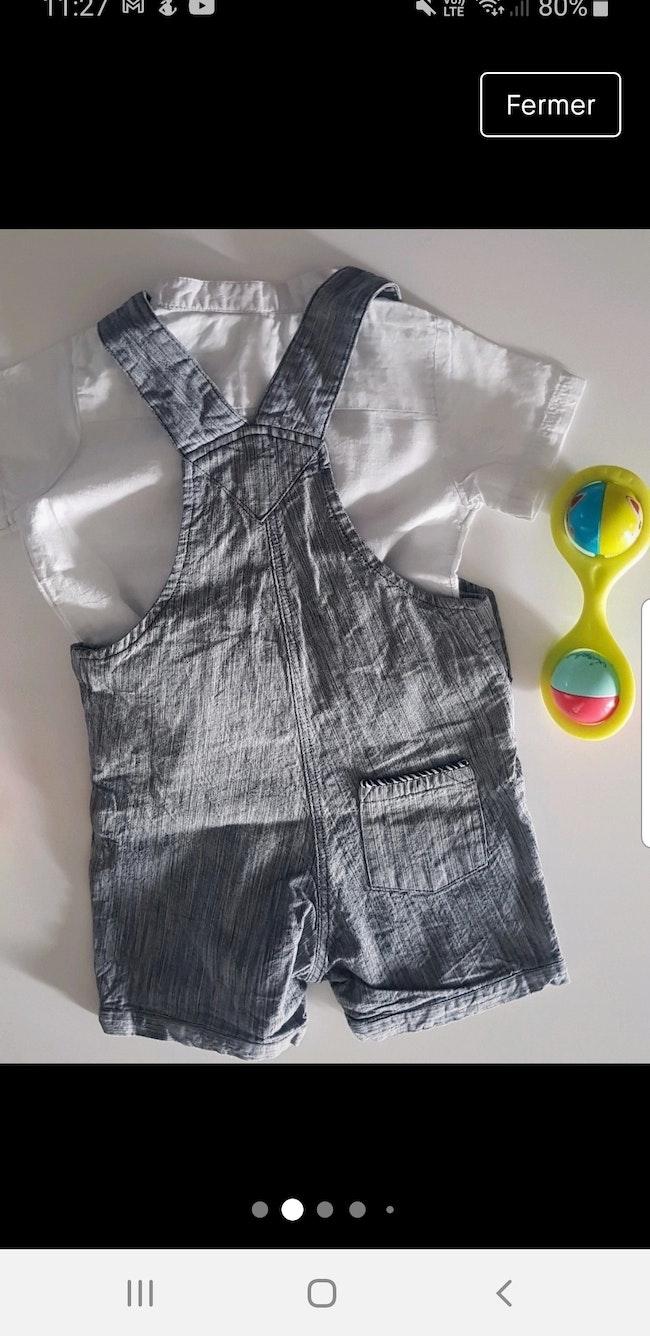 Ensemble salopette chemisette 6m