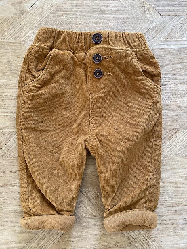 Pantalon velour camel garçon Tape a l'œil 3 mois