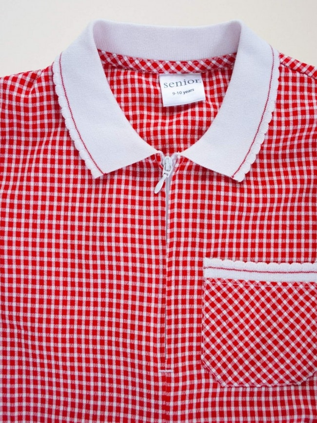 Robe vichy rouge col blanc
