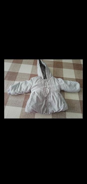 Manteau 9 mois imperméable fourré gris avec capuche Tex