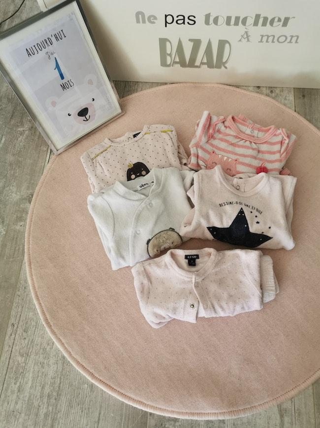 Lot de 5 pyjamas- 1 mois