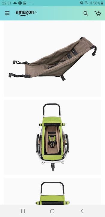 Hamac pour carriole à vélo